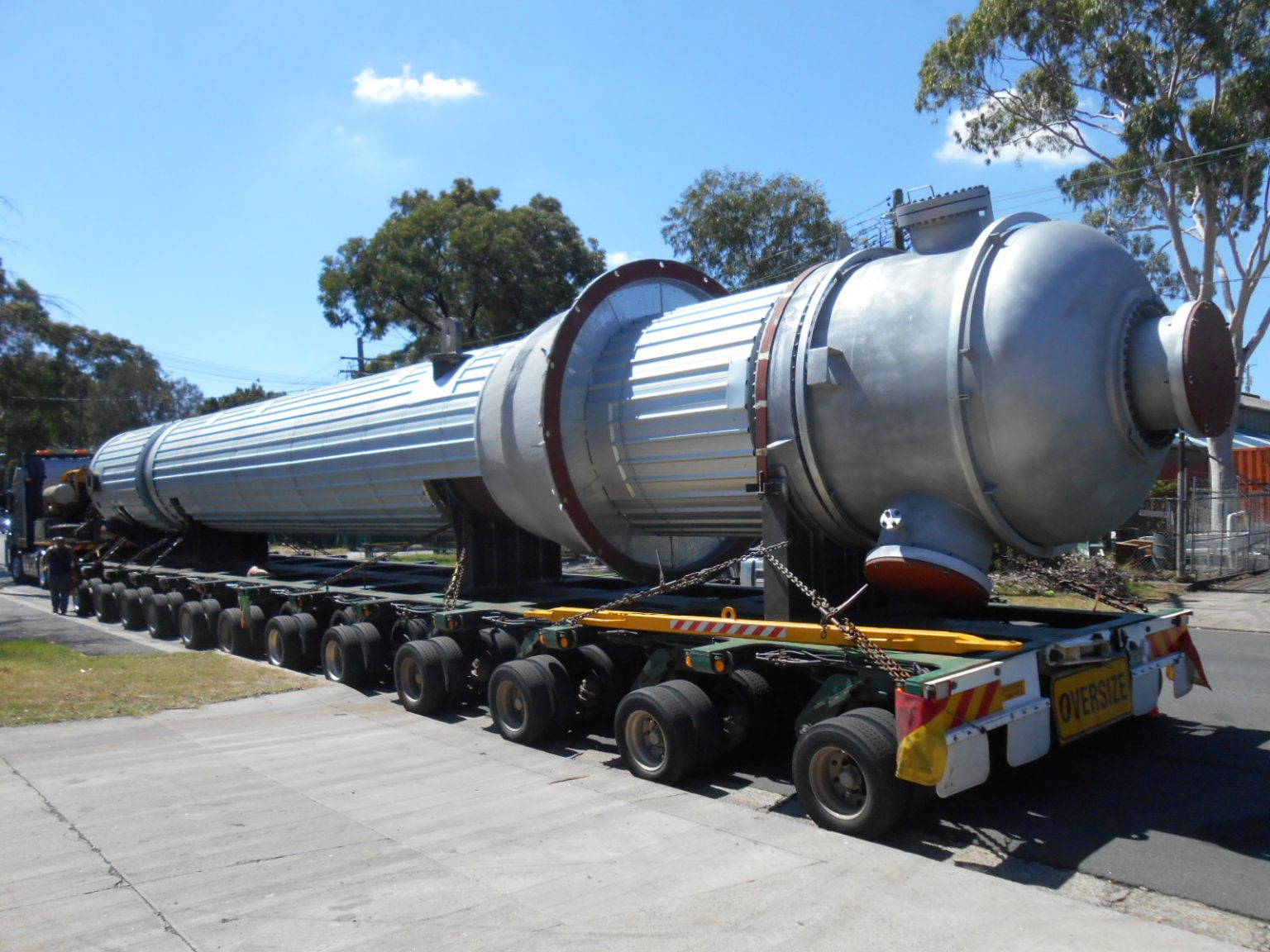 Texas tower exchanger on trailer