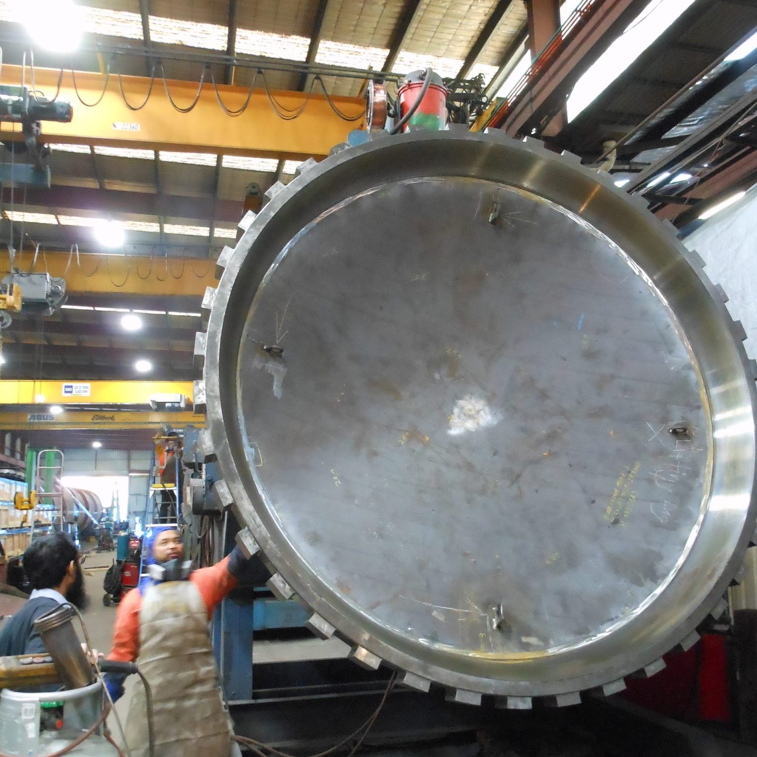 In workshop - door dome partly welded